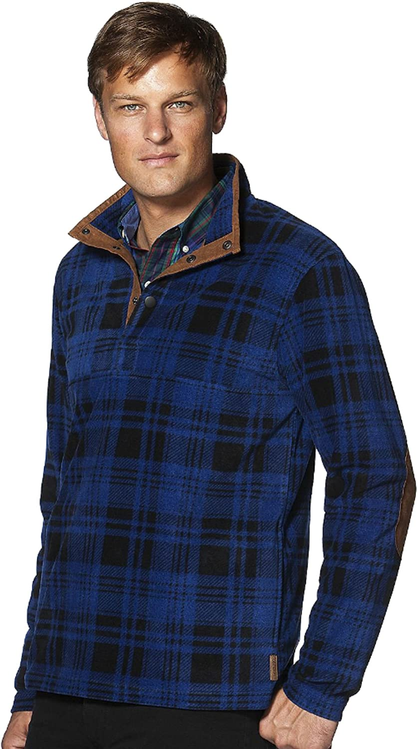 Chaps Men's Big and Tall Classic Fit Plaid Microfleece Pullover