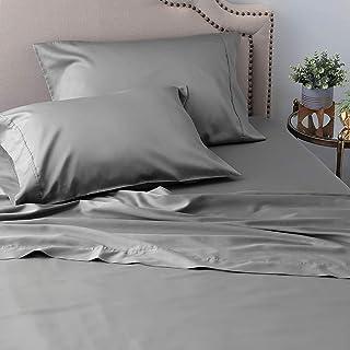 AURORA PLUS 100%ピュアエジプト綿 フルブルーシーツセット 800スレッドカウント 4点セット サテン織 長繊維コーマ綿 非常に柔らかく滑らかなシルクのようなサテン織り (フル、アッシュ)