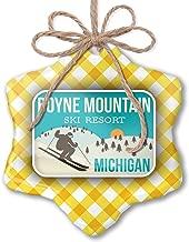 NEONBLOND Christmas Ornament Boyne Mountain Ski Resort - Michigan Ski Resort Yellow Plaid