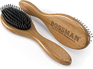 Boar's Hair Beard/Hair Brush with Bamboo Wood Frame, Fortified with Massaging Nylon Bristles and Beads, Engraved Handle