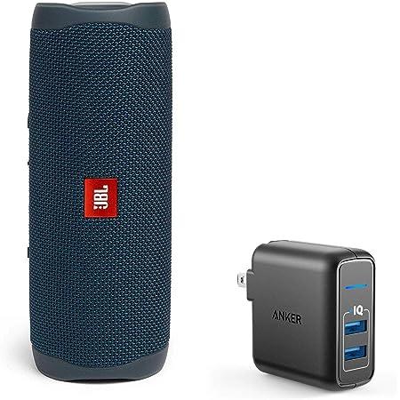 JBL Flip 5 Waterproof Portable Wireless Bluetooth Speaker Bundle with 2-Port USB Wall Charger - Blue