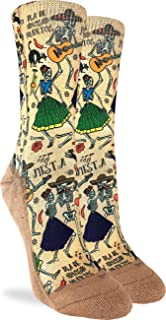 Women's Day of the Dead Crew Socks - Yellow, Adult Shoe Size 5-9