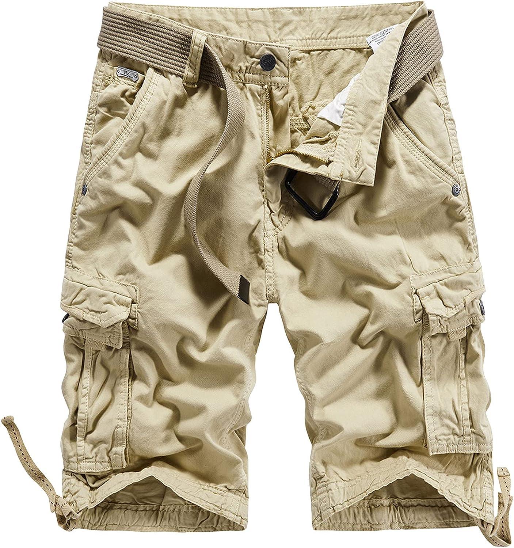 B dressy Men Summer Casual Loose Camouflage Cargo Shorts Multi-Pocket 100% Cotton Street Military Knee-Length Beach-Khaki01-30