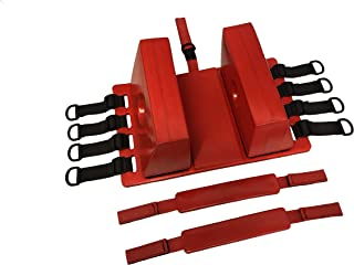 LINE2design Spine Board Head Immobilizer for Backboard - Universal EMS EMT Emergency Medical Re-usable Rescue Portable Lightweight with Adjustable Straps - Red