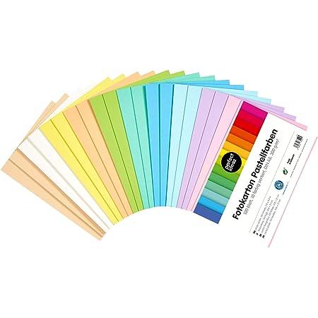 perfect ideaz 100feuilles de carton photo pastel DIN-A5, carton de bricolage, teinté dans la masse, en 10coloris différents, grammage 300g/m², feuilles à qualité élevé