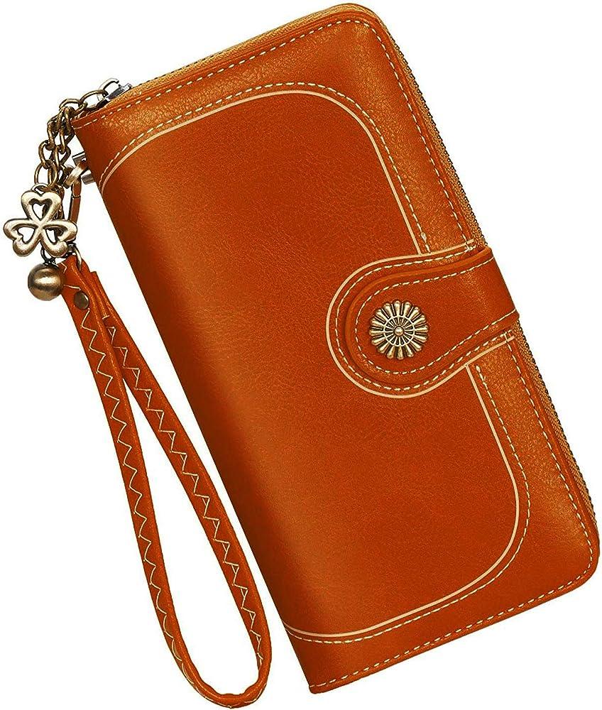 Y yongyuan portafoglio porta carte di credito per donna in ecopelle arancione