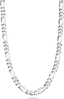 Miabella Solid 925 Sterling Silver Italian 5mm Diamond-Cut Figaro Link Chain Necklace for Women Men, 16, 18, 20, 22, 24, 2...