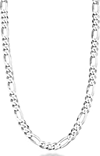 Solid 925 Sterling Silver Italian 5mm Diamond-Cut Figaro Link Chain Necklace for Women Men, 16