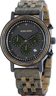 BOBO BIRD Mens Classic Wooden Watches Luxury Quartz Wristwatches Business Stainless Steel Chronograph Watch Date Display