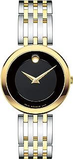Movado Women's Esperanza 2-Tone Watch with Concave Dot Museum Dial, Silver/Gold/Black (Model 607053)