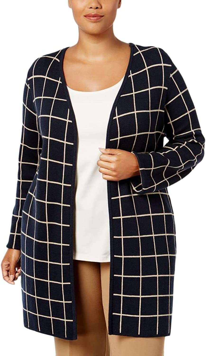 Charter Club Womens Plus Wool Blend Open Front Cardigan Sweater
