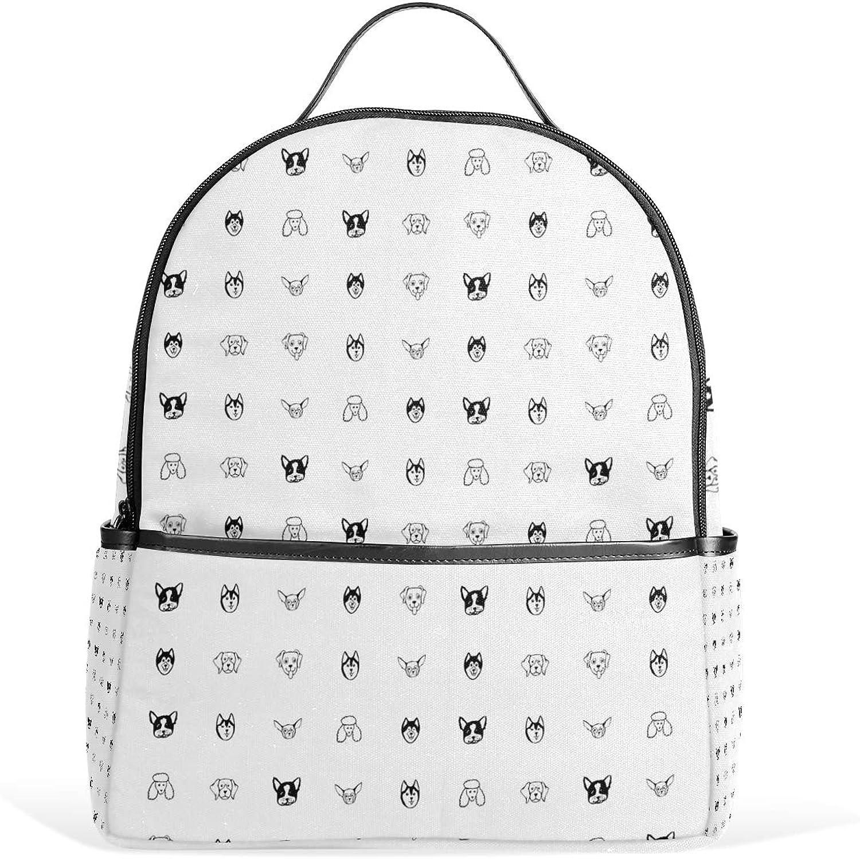Fashion Backpack Dog Breeds Bulldog Husky Daypacks Shoulder Bag Rucksack for Girls