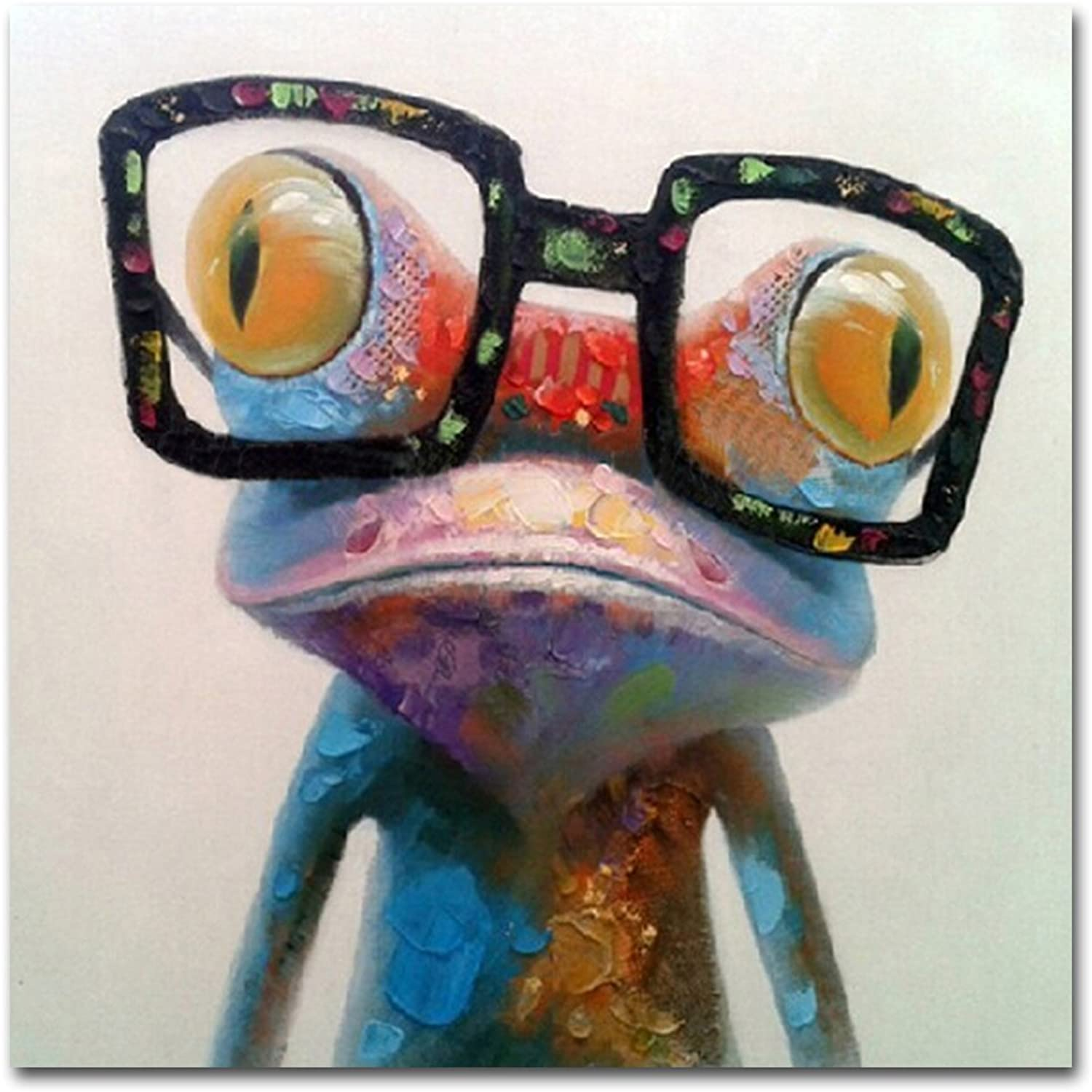 Muzagroo Art Hand Painted Oil Painting Happy Frog on Canvas for Living Room Large Size Art Stretched (32x32inch, Happy Frog)