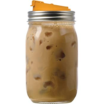 Jarware 82615 Drink, Orange Lid for Regular-Mouth Mason Jars