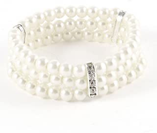 Coolrunner Ladies 3 Rows Faux Pearls Accent Off White Stretch Wrist Bracelet Jewelry