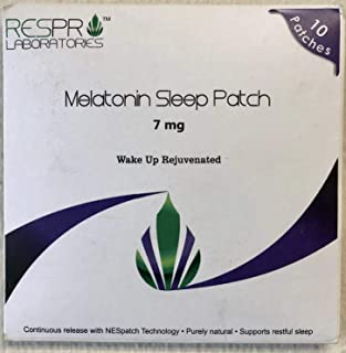 Respro Labs Natural Melatonin Patch Sleep Aid, 7 mg Continuous Release - 10 Patches (Most MG of MELATONIN in A Patch)