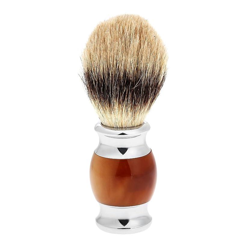 手荷物シルエット従う1PC メンズ ひげブラシ アナグマ毛 シェービングブラシ バーバー シェービング用ブラシ 理容 洗顔 髭剃り
