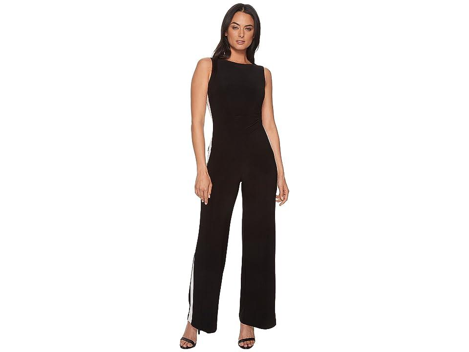 LAUREN Ralph Lauren Shah Two-Tone Matte Jersey Jumpsuit (Black/Lauren White) Women
