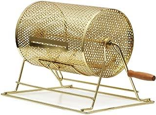 Yaheetech Brass Raffle Drum with Wooden Turning Handle - Spinning Lottery Casino Bingo Raffle Ticket Drum Box Holds 2,500 Tickets