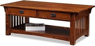 Leick Furniture Mission 2-Drawer Coffee Table, Medium Oak