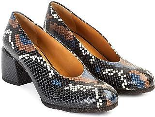 Audley Cristina - Chaussures à Talon Moyen   Chaussures de Salon en Cuir pour Femmes avec Effet Python Multicolore   Bout ...