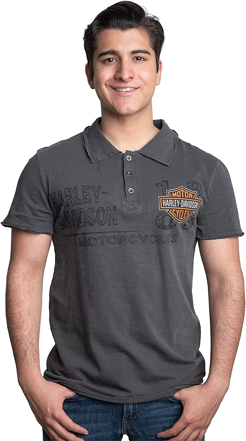 Harley-Davidson Mens Name Spread B&S Antique Wash Charcoal Short Sleeve Polo