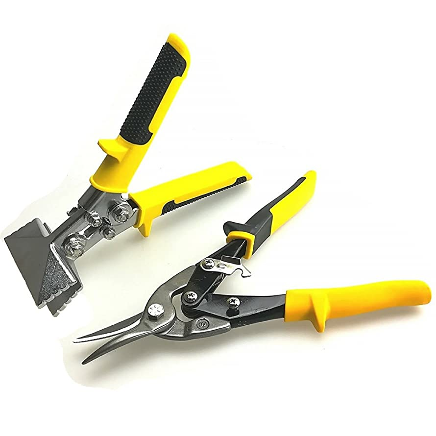 """Red Oak Tools Metal Sheet Tools Set- 3"""" Inch Hand Seamer Fairmont Tongs and Straight Cut Aviation Snips for cutting bending and flattening sheet metal- Yellow"""