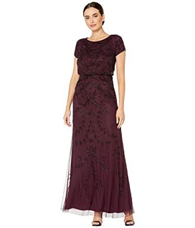 Adrianna Papell Long Fully Beaded Blouson Dress (Night Plum) Women