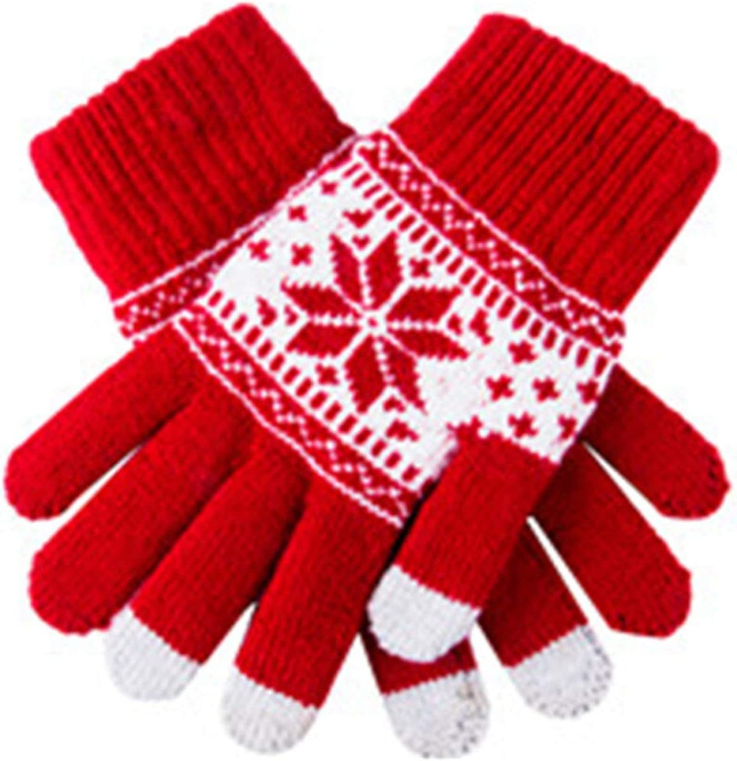 Lace Gloves Cute Christmas Warm Winter Gloves Snowflake Printed Knitted Touch Gloves Men Women Gloves Touch Screen Glove Party Supplies (Color : White, Gloves Size : One Size)