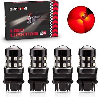BRISHINE 4-Pack Super Bright 3157 3156 3057 4057 3157K LED Bulbs Brilliant Red 9-30V Non-Polarity 24-SMD LED Chipsets with...