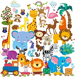 Wall Decals - Safari Adventure Decorative Peel & Stick Animal Wall Art Sticker for Baby's & Kids Room, Nursery and Playroom - 55 PCS