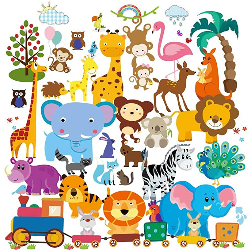 Wall Decals - Safari Adventure Wall Stickers, Peel and Stick Wall Mural for Baby's Room, Nursery and Playroom