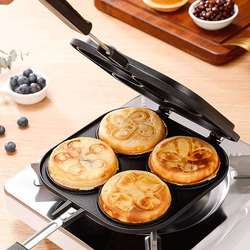 LJF Double Sided Frying Pan Non Stick Omelette Egg Breakfast Maker Aluminum Alloy Burger Scones Wheel Cake Mold Tortilla Pan Griddle Pan
