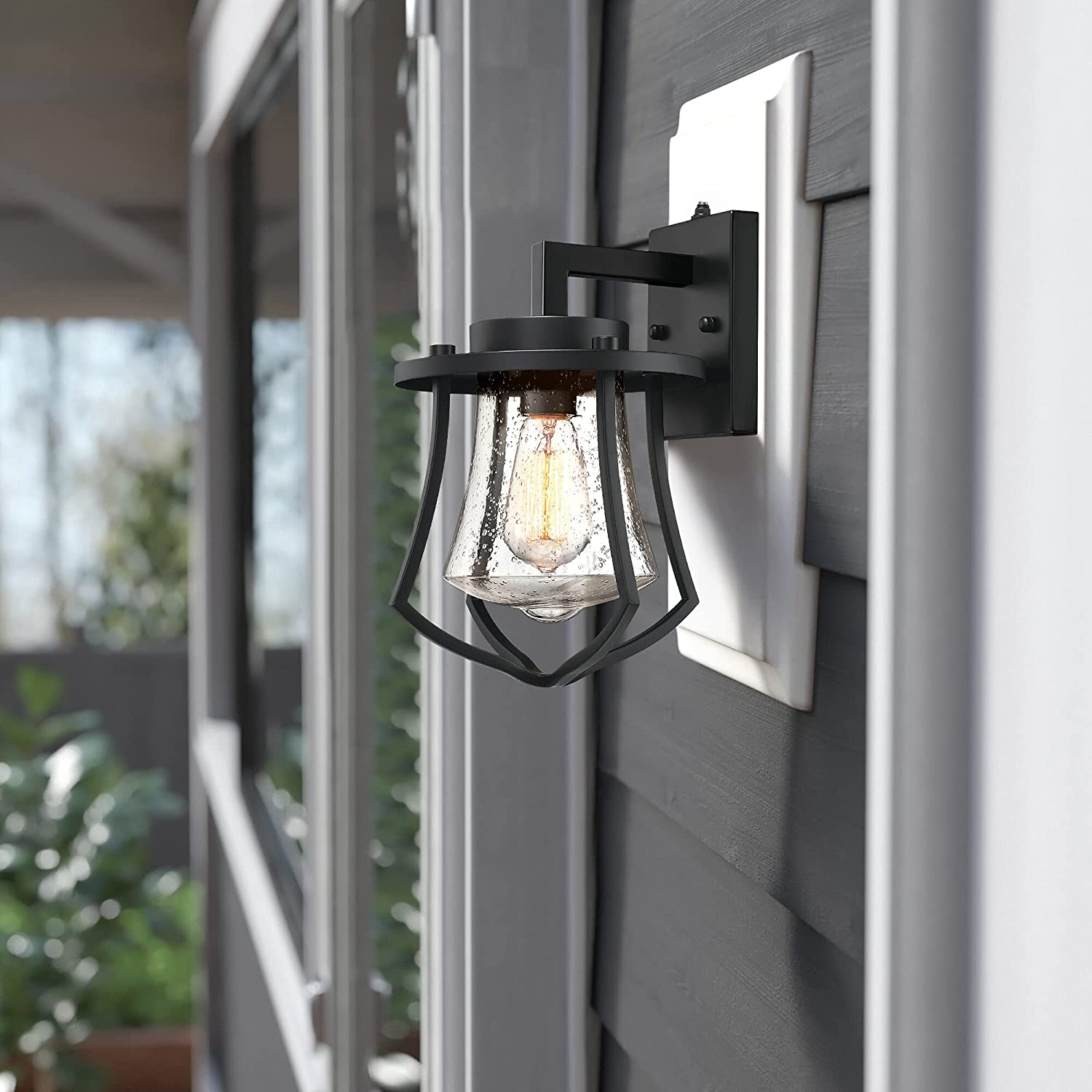 MOTINI Super Ranking TOP7 popular specialty store Dusk to Dawn Outdoor Lig Exterior Lantern Black Wall