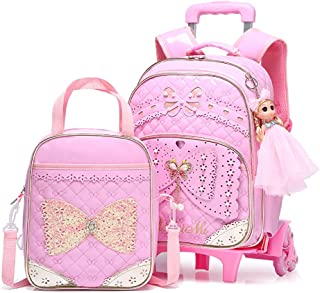 Rolling Backpacks For Girls School Bags Trolley Handbag With Lunch Bag