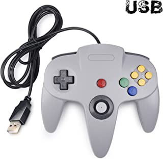 Classic N64 Controller, iNNEXT N64 Wired USB PC Game pad Joystick, N64 Bit USB Wired Game Stick Joy pad Controller for Windows PC MAC Linux Raspberry Pi 3 Sega Genesis Higan (Grey)