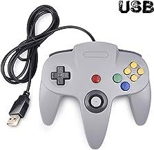 Classic N64 Controller, SAFFUN N64 Wired USB PC Game pad Joystick, N64 Bit USB Wired Game Stick Joy pad Controller for Windows PC MAC Linux Raspberry Pi 3 Sega Genesis Higan (Grey)