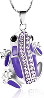 mingkejw Cremation Jewelry Frog Urn Necklace for Ashes Stainlee Steel Urn Necklace Keepsake for Human Ashes