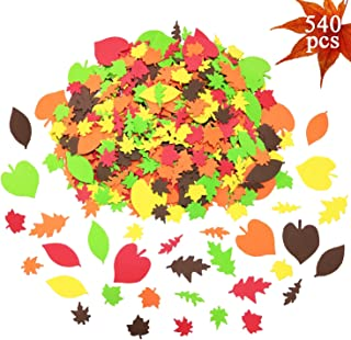 540pcs Fall Leaf Stickers Self-Adhesive Foam Maple Leaves Craft EVA Stickers Autumn Leaf Shapes Stickers for Art Craft Thanksgiving Party Decoration and Supplies