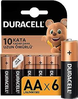 Duracell Alkalin AA Kalem Piller, 6'lı paket