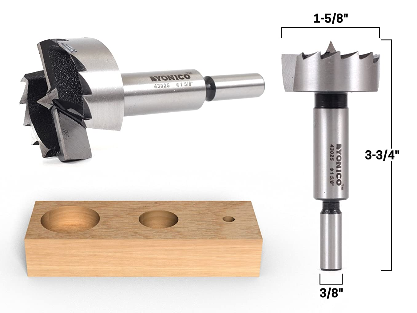 Yonico 43025S 1-5/8-Inch Diameter Steel Forstner Drill Bit 3/8-Inch Shank