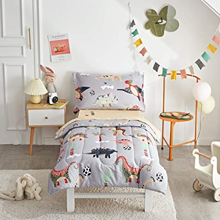 Uozzi Bedding 4 Piece Gray Dinosaurs Toddler Bedding Set with Colorful Dinos Boys Bed Comforter Sheet Set