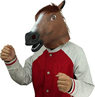 BengPro Brown Latex Rubber Horse Head Mask Hooves Gloves Halloween Party Adult Costume Props