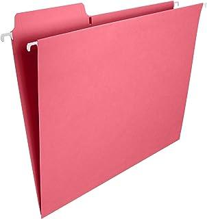 Smead FasTab Hanging File Folder, 1/3-Cut Built-in Tab, Letter Size, Dark Pink, 9 per Pack (64014)