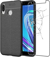 ebestStar - Cover ASUS Zenfone Max M1 ZB555KL Custodia Protezione Silicone Gel TPU Morbida e Sottile con Pelle Design, Nero + Pellicola Vetro Temperato [Apparecchio: 147.3 x 70.9 x 8.7mm, 5.5'']