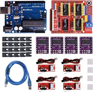 KeeYees Professional 3D Printer CNC Kit with Tutorial for Arduino, CNC Shield V3 w/Jumpers + 4Pcs RAMPS 1.4 Mechanical Switch Endstop & DRV8825 GRBL Stepper Motor Driver Heat Sink