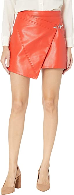 Red Vegan Leather Latch Detail Skirt in Safe Word