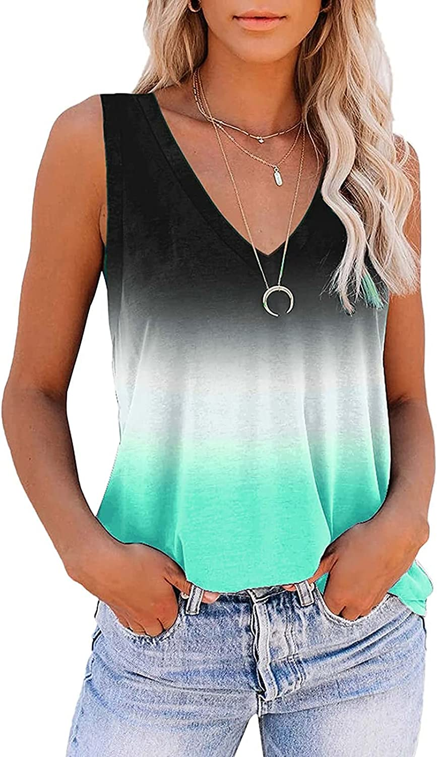 AODONG Womens Summer Tops, Gradient Sleeveless V Neck Tank Tops for Women Summer Cute Loose Workout Athletic Yoga Shirts