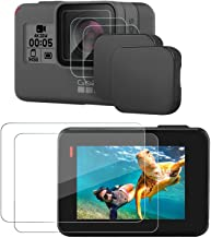 Hapurs Lens Cap and Lens & Screen Protector for for GoPro Hero 7 Black/ 6/5/,2 Pack Protective Lens Cover Case and Anti-Scratch Tempered Glass Screen and Lens Protector for GoPro Hero 7/6 / 5