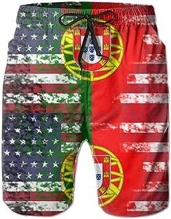 GoSunny Mens Retro Portuguese Half Portugal Half America Flag Summer Trunk